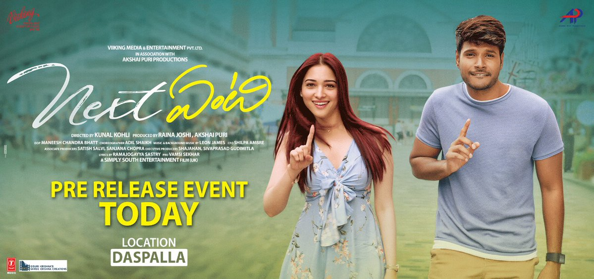 Grand Pre Release event of Next Enti Movie today at 6:30 PM!