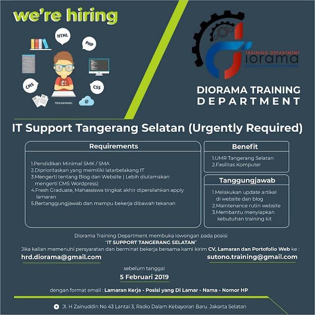 Lowongan It Support Diorama Training Penempatan Tangerang Selatan