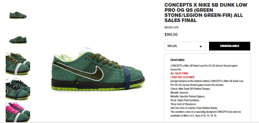 Nike SB X Concepts Green Lobster Dunk Low Sold out in 5