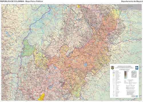 Mapa da Colômbia - Departamento de Boyaca