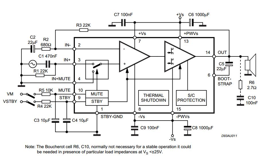 Various diagram: 80W Subwoofer Amplifier TDA7295