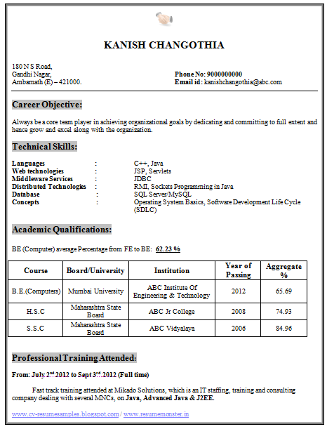 Over 10000 CV and Resume Samples with Free Download BE Computer Science Resume Download