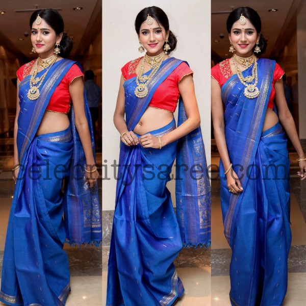 Shalu Chourasia Blue Silk Saree