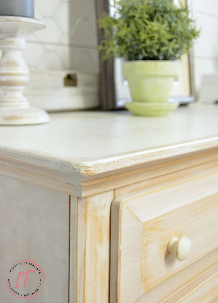 Distressed Whitewashed Sideboard Buffet