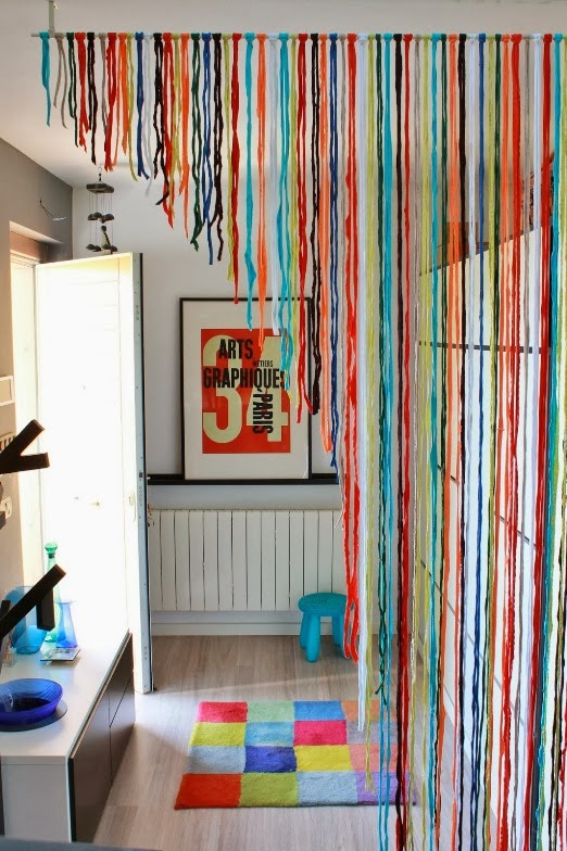 Cortina de fios de lã - DIY