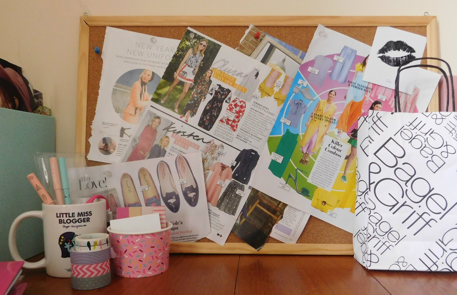 New Blogger Office - all about the pin board