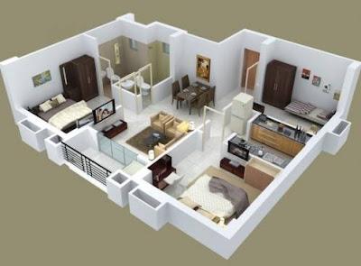 Contoh Denah Rumah 3 Kamar Tidur Minimalis Modern
