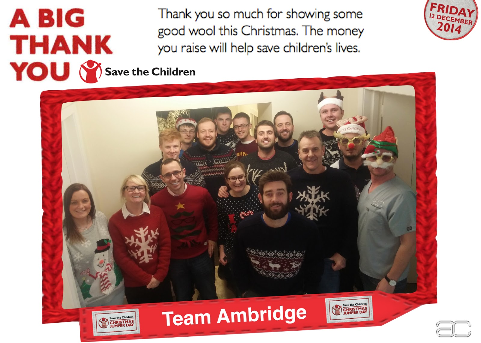 Ambridge Ceramics Christmas Jumper Day Thank You 2014
