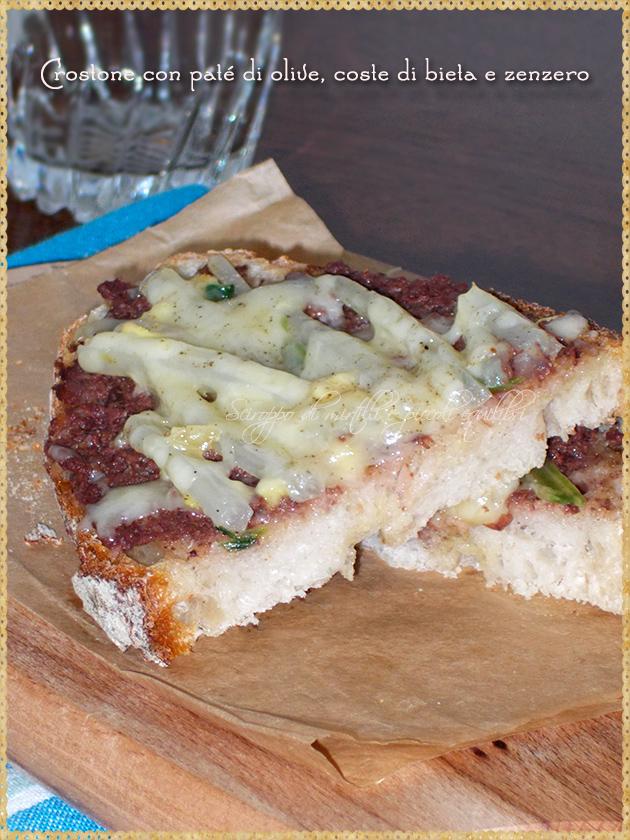 Crostone con paté di olive, coste di bieta e zenzero