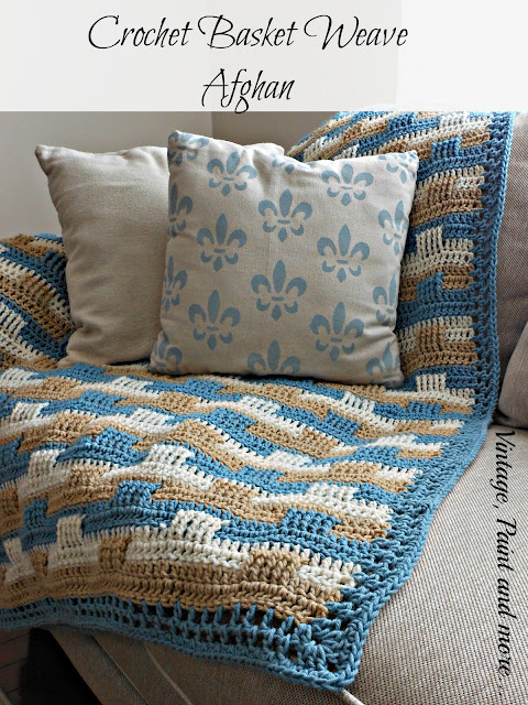 crochet basket weave afghan and stenciled drop cloth pillows