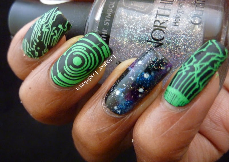Lacquer Lockdown - MoYou London, MoYou London Sci Fi Collection, Sci Fi 05, stamping, nail art, galaxy nails, NYC Matte Me Crazy, Wet N' Wild Black Creme, diy nail art, galaxy nails, space nail at, compute nail art, sci fi nail art, pueen 2014, easy nail art ideas, cool nail art ideas, easy nails art, space nails,