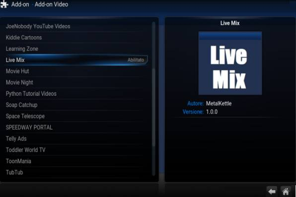 Live Mix Add-On Kodi installato