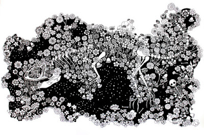 Dibujo blanco y negro altamente detallado