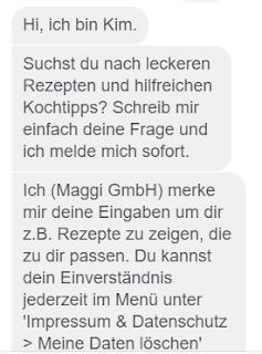 Maggi-Chatbot Kim stellt sich vor.