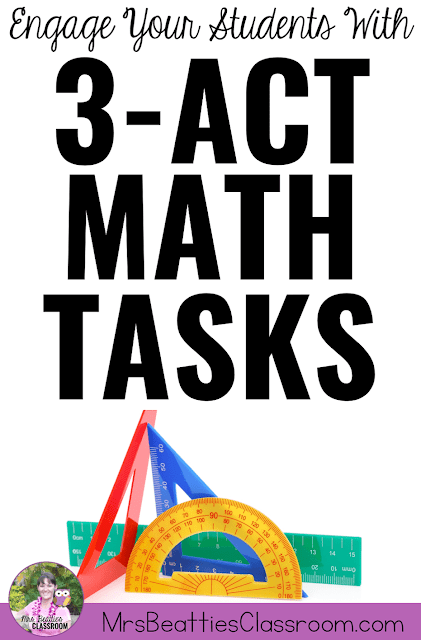 "Image of math tools with text, ""Engage Your Students With 3-Act Math Tasks."""