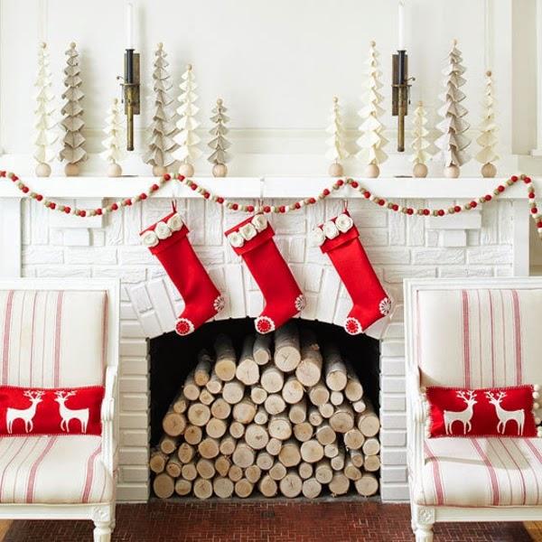 chimenea sala navidad