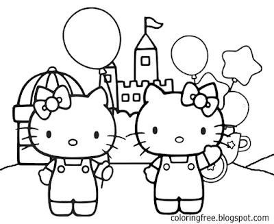 Cool fairy-tale castle yard outdoor party Hello Kitty printables for teenage young ladies to color