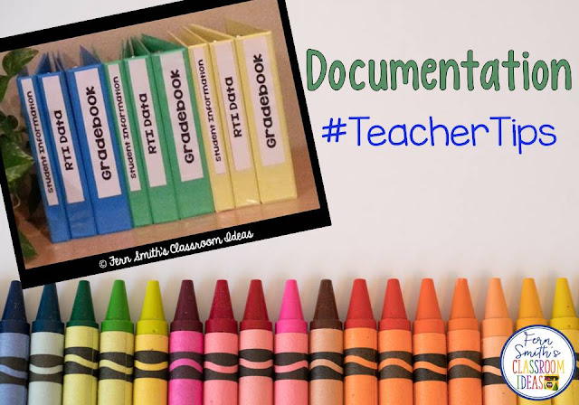 If you teach two or more groups, I found that it was easier to keep all data separate in different colored notebooks. With Data Meetings and Parent Conferences held in locations other than my classroom, keeping everything neat and tidy in a file cabinet would no long work. All this and more Teacher Tips for Documentation.