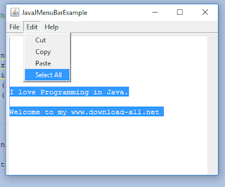 Java JMenuBar ,JMenu and JMenuItem
