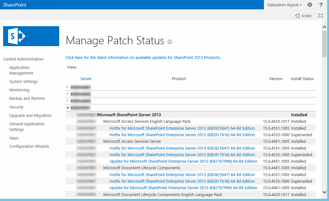 sharepoint 2013 patch status page