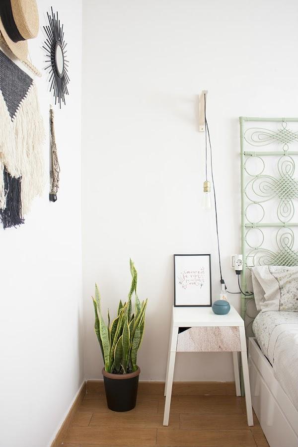 Dormitorio con cabecero DIY