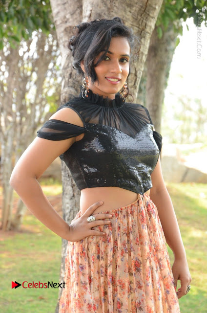 Actress Chetana Uttej Stills in Floral Long Skirt at Pichiga Nachav Movie Press Meet  0001.JPG