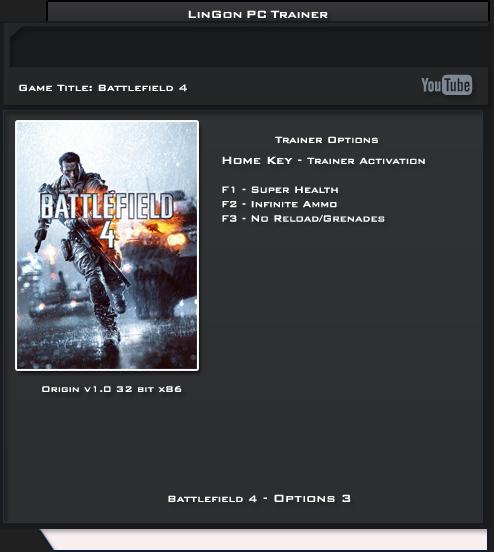 BATTLEFIELD 4 v1.0 Trainer +3 [LinGon]
