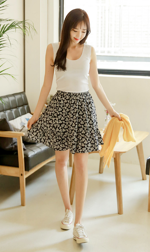 Flared Floral Cotton Skirt