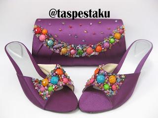 Tas Pesta Sepatu Pesta Purple Ungu Cantik Unik Elegant