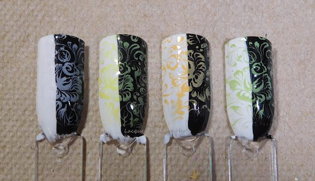 Moonflower polish in Moonflower, Mango, Lemon, and Apple, with topcoat