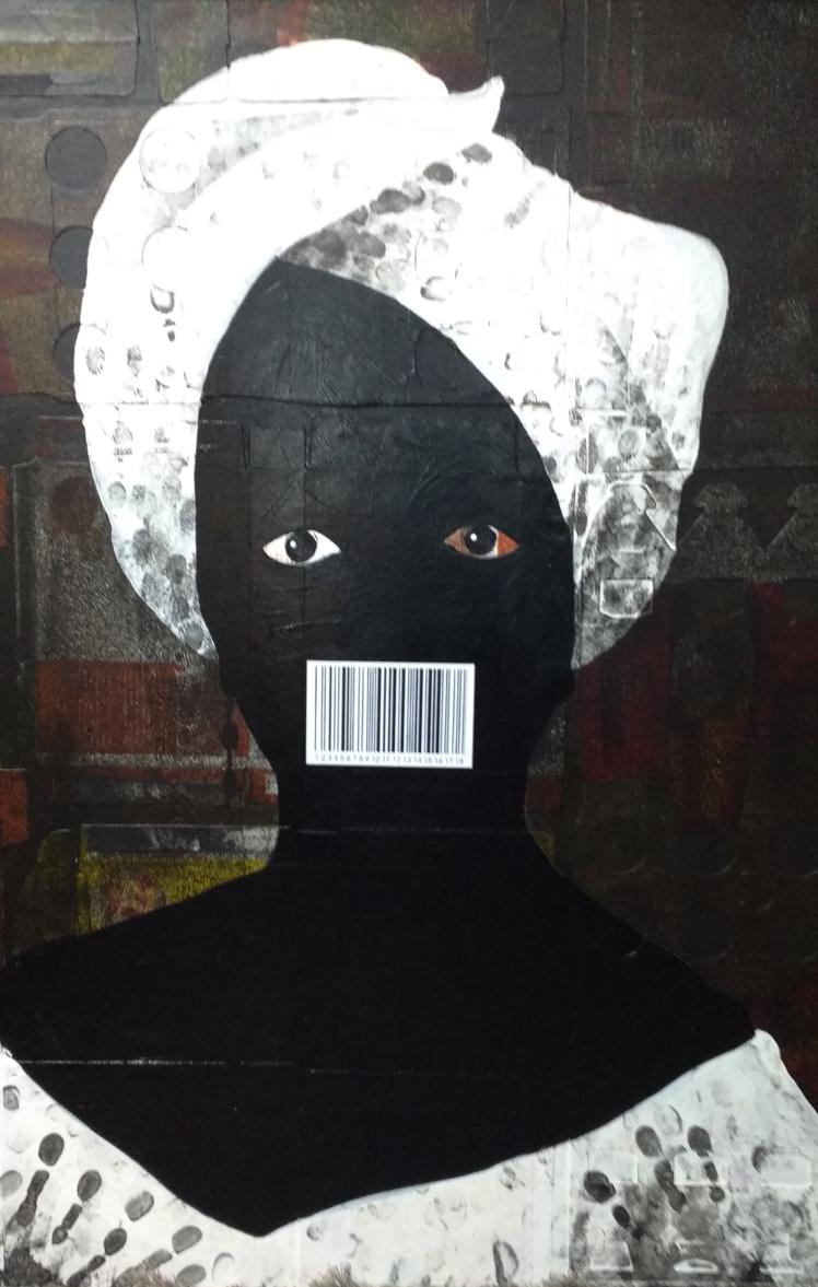 quadro tipo poster em assemblage com mulher negra na época da escravatura