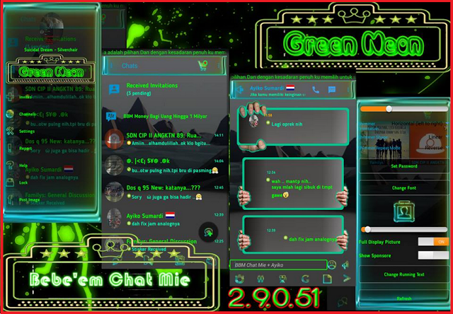 BBM Chat Mie Theme Green Neon Transparant v2.9.0.51 Apk