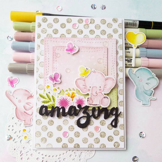 Mini Modern Blooms and Birdie Brown Adorable Elephants stamp sets and Die-namics, Doubly Amazing and Wonky Stitched Square STAX Die-namics - Yulianna Neginskaya #mftstamps