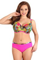 Costum de baie doua piese Flowers Pink, cupe neintarite • Lupoline