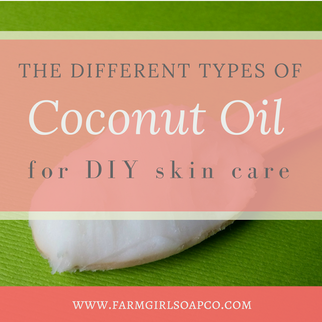 What's the difference between 76 degree coconut oil, fractionated, virgin, and refined? Here's what you need to know about the different types of coconut oil, and how to use them in soap and DIY skin care. By Angela Palmer at Farm Girl Soap Co.