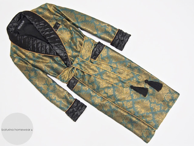 Men's green and gold dressing gown with paisley print and quilted black silk collar