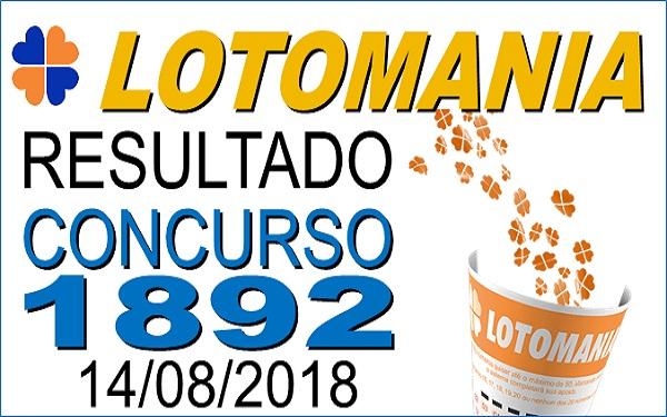Resultado da Lotomania concurso 1892 de 14/08/2018 (Imagem: Informe Notícias)