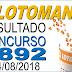 Resultado da Lotomania concurso 1892 (14/08/2018)