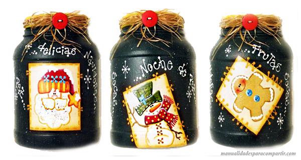 Frascos plasticos reciclados y decorados. Manualidades para navidad.