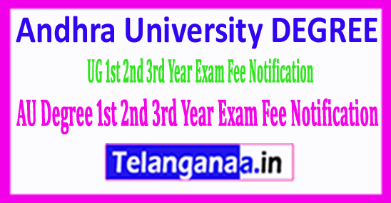 AU Degree Andhra University UG 1st 2nd 3rd Year Exam Fee Notification 2018