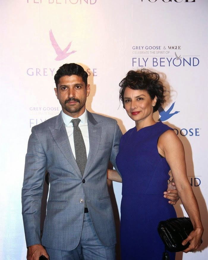 Farhan Akhtar, Adhuna Bhabani Akhtar, Pics from Red Carpet of Grey Goose & Vogue's Fly Beyond Awards 2014