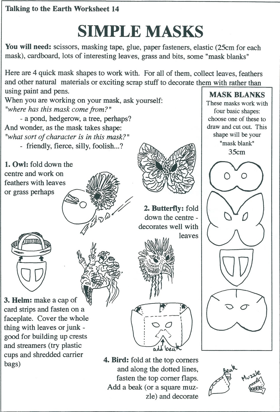 African Mask Design Worksheet