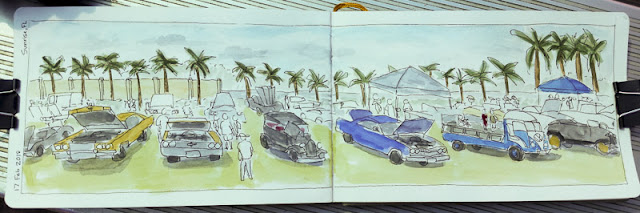 Sketch with watercolor wash of people and classic cars at a car show.
