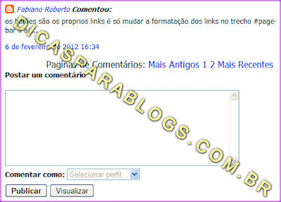 pagina de comentarios do blog
