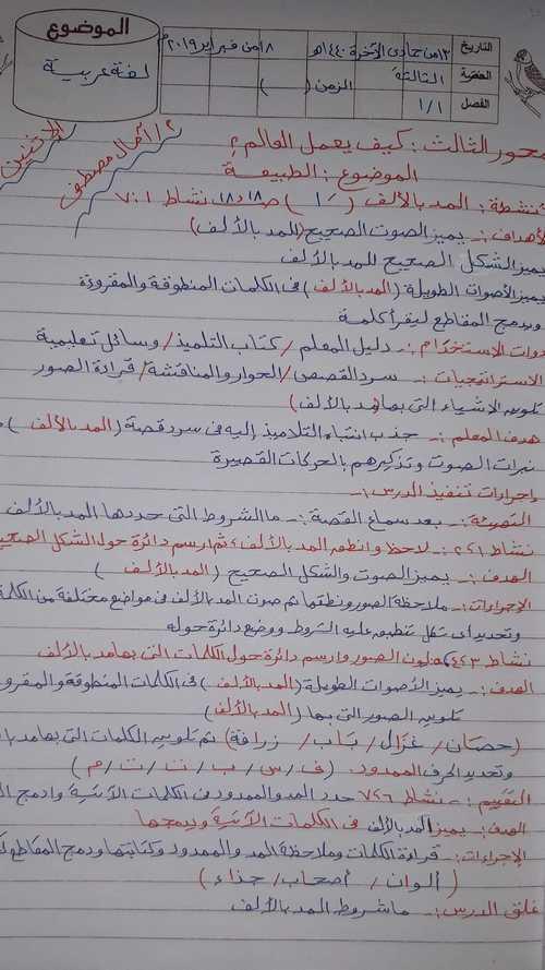 تحضير درس المد بالألف لغة عربية اولى ابتدائى ترم ثانى 2019