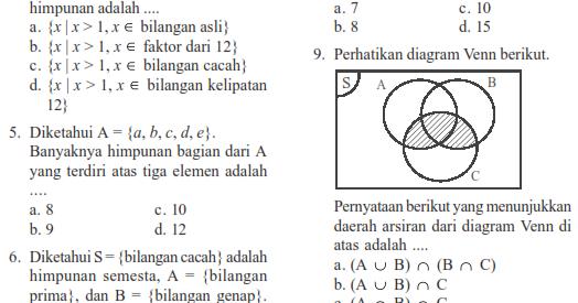 soal matematika smp kelas 7 himpunan semester 2