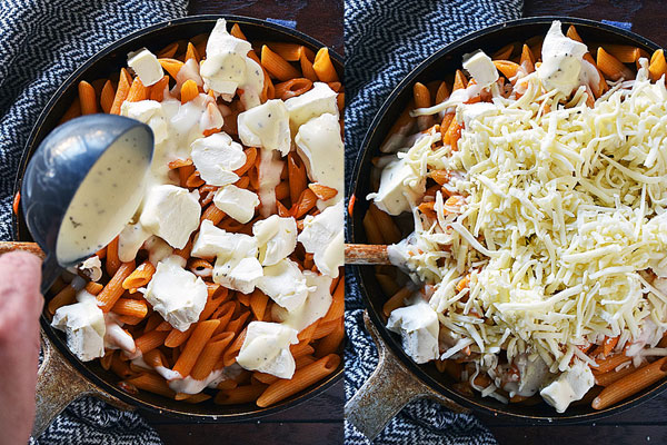 Step by step photos showing how to combine ranch dressing, cream cheese, and mozzarella to make buffalo chicken pasta recipe