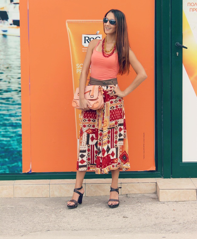 red yellow brown orange printed midi skirt