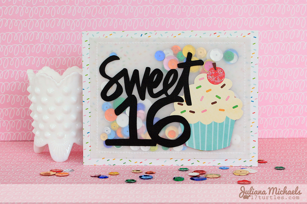 Sweet 16 Happy Birthday Card by Juliana Michaels #pebblesinc #birthdaycard #vellum #sequins