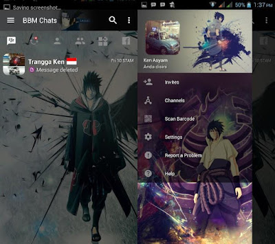 Download BBM MOD Sasuke v3.2.5.12 APK Terbaru Transparan Theme